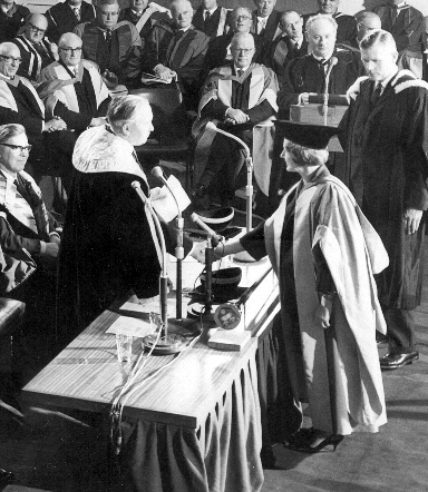 First Chancellor, Harold Wilson, awarding Barbara Castle with an Honorary Degree in 1966