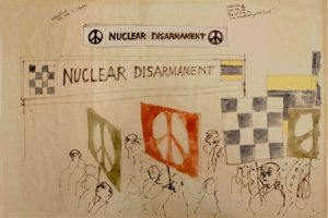 Sketches of the nuclear disarmament symbol, by Gerald Holtom.