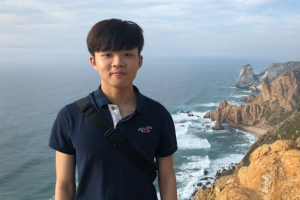 Person standing in front of cliffs and coastline