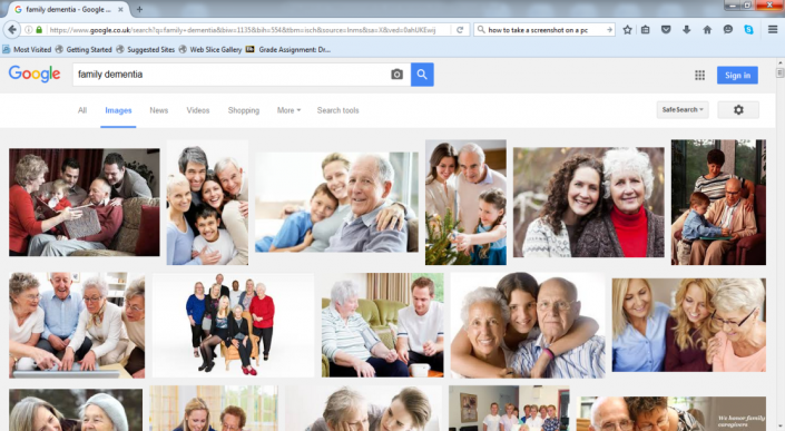 I googled 'family and dementia' – this is the first page of image results