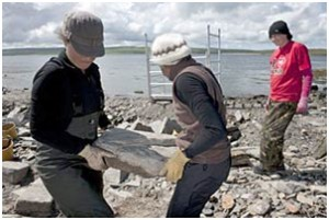 students clearing the site at Rousay