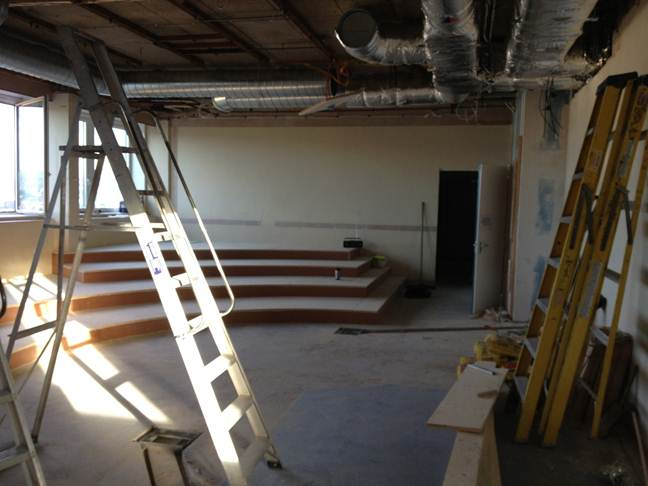 Progress on the new simulation suite lecture theatre for 13 a table theatre