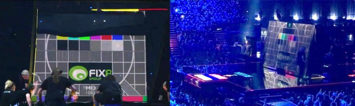 Testcard K being used to align the projectors during the live Eurovision 2016 Finals broadcasts from Stockholm, Sweden