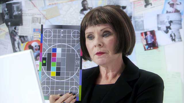 "Imelda Staunton holds Testcard K in Reece Shearsmith and Steve Pemberton's dark BBC TWO comedy ""Psychoville"""