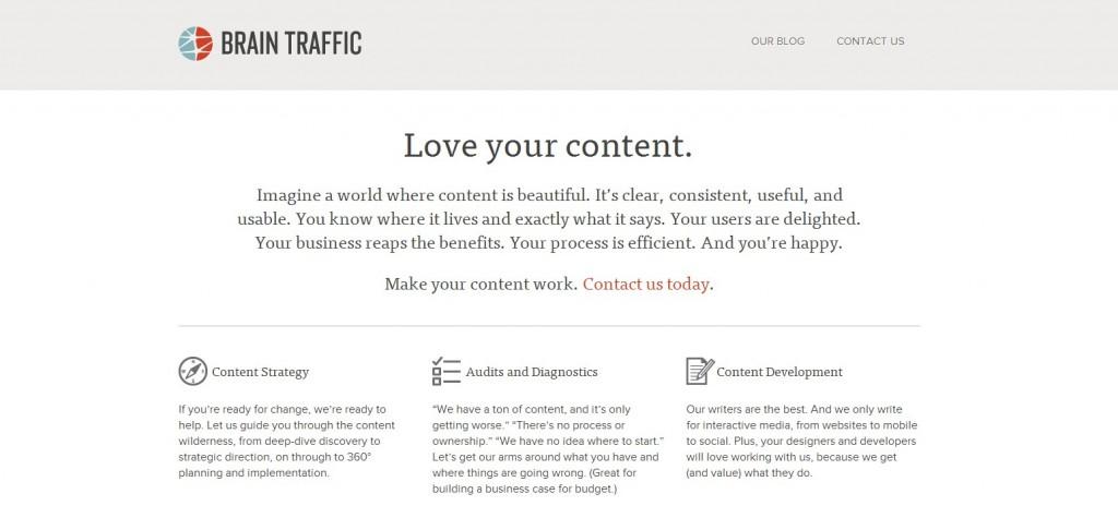 Brain Traffic homepage