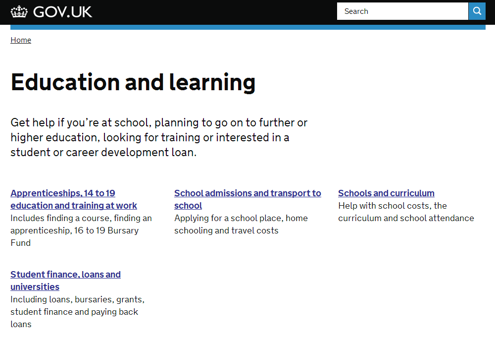 Signposting page example - direct.gov.