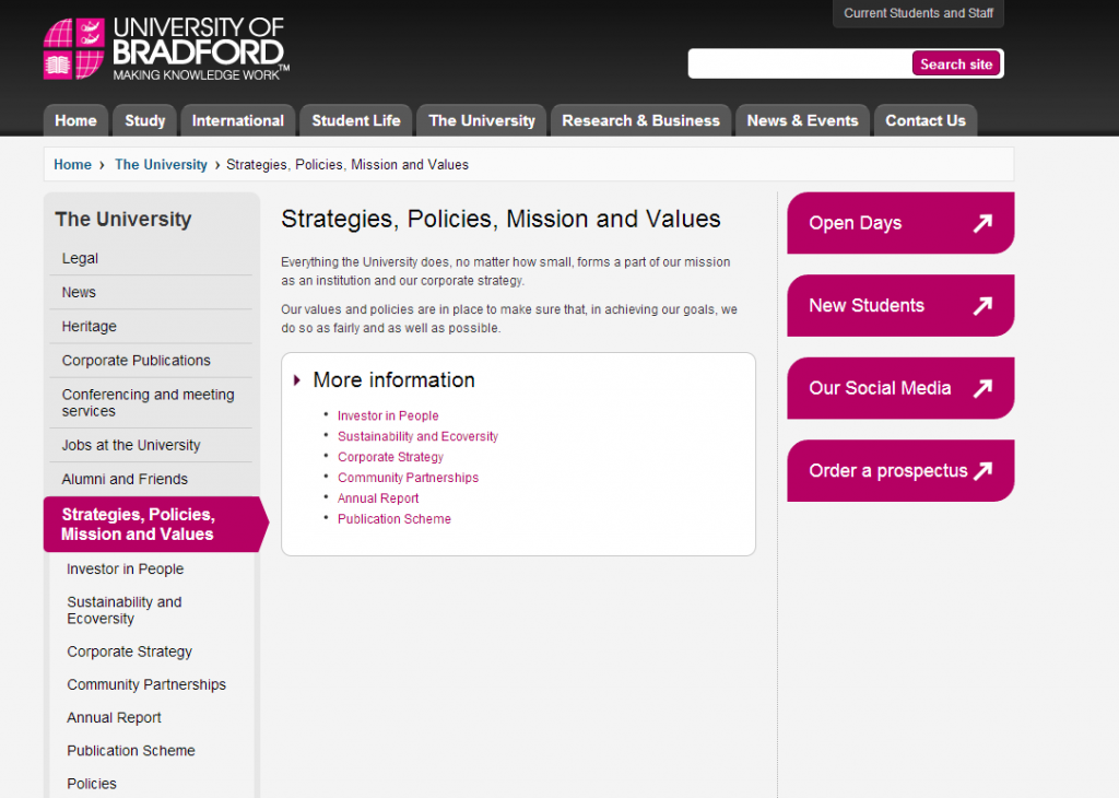 Signposting page example - The University.