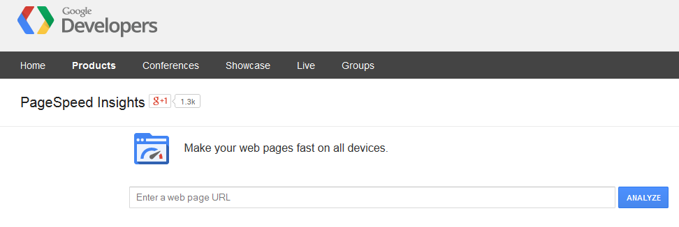 A screenshot of the Google PageSpeed Insights interface
