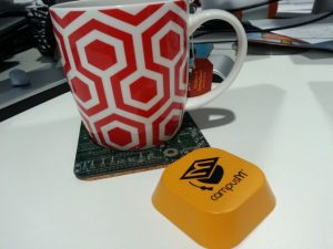 A CampusM beacon and a cup of tea.