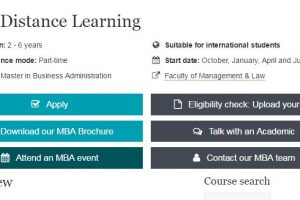 screenshot of MBA Distance Learning course.