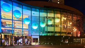 National Media Museum in Bradford lit up at night